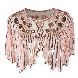 Geométrico retro de la lentejuela de la vendimia del Cabo con cuentas de 1920 Mantón Wraps aleta Cover Up señora de las mujeres de la bufanda de malla de la tarde del partido del vestido del encogimiento de hombros