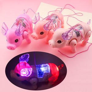 Luminous electric piggy toy Cute Luminous electric Rope pull piggy toy Kid early education toy Baby Gift
