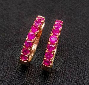 Ruby Earrings, Solid 14K Rose Gold Earrings with Rubies, Fashion Earrings