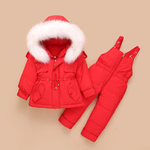 Children Duck Down Coat Jacket + Jumpsuit Toddler Girl Boy Clothes Set Kids Snowsuits Winter Outfit Suit Warm Baby Overalls 1-4Y