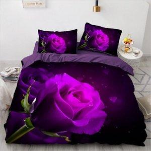 3D Bedding Set Custom Single Double Queen Size 3PCS Duvet Cover Set Comforter Quilt Pillow Case Flowers Home Textile