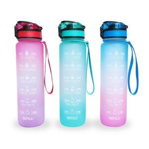 Gradyan Su Kupası Bounce Kapak Spor Kettle Taşınabilir Mühürlü Kaçak-Proof Hediye Kupası Açık Buzlu Plastik Su Şişeleri DHF574