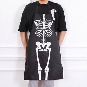 할로윈 바 댄스 의상 드레스 앞치마 해골 의상 앞치마 성인 남성과 여성 주방 QLgp 번호