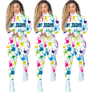Designer Women Jumpsuit Casual Cartoons Letters Print Onesies High Collar Long Sleeve Rompers ladies leisure sports clothing 955