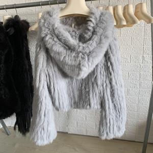 OFTBUY 2020 chaqueta Nueva otoño invierno capa de las mujeres piel verdadera suelta manual de la armadura 100% Natural conejo del abrigo de pieles con capucha de la llamarada mangas T200907