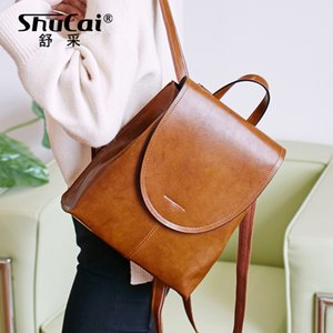 SHUCAI Daily Casual Leather Backpack For Women Classic Student's Schoolbag Vintage Lady Knapsack High Quality Cowhide back bags