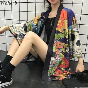 Woherb 여름 일본어 하라주쿠 기모노 해골 프린트 빈티지 블라우스 선 스크린 유카타 카디건 재킷 여자와 남자 셔츠 21,300 200,925