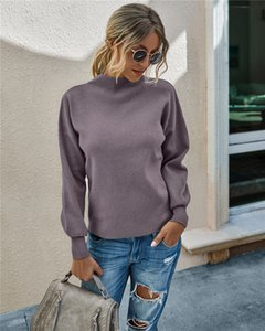Women's Classic Fit Lightweight Turtleneck Sweater Long-SleeveTurtleneck Sweaters Slouchy Puff Sleeve Chunky Knit Oversized Pullover Tops