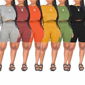 Frauen-Sport-Set Herbst 2pc Frauen Sets Solid Color Short Anzug Set Lässige Street Club Wear Crop Top Shorts Anzug