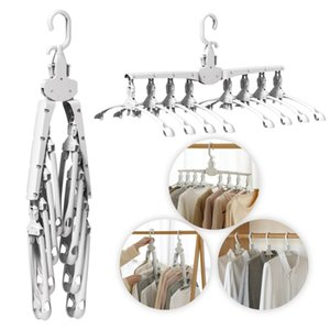 Rotate Anti-Skid Folding Hanger Plastic Drying Rack Magic Clothes Hangers Space Saver Organizer Multi Functional Clothes Hangers T200605