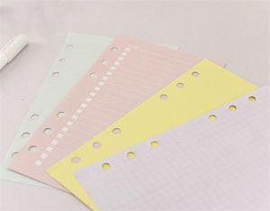 A6 فضفاض ورقة دفتر الملاحظات الورقية الأوراق الفهرسة الملونة الصفحات الداخلية للطالب مخطط اليومي هدية العملية