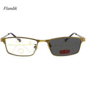Фотохромные очки для чтения Progressive Metal рамки Мужчины многоочаговых Рецептурные солнцезащитные очки +1,00 +1,50 +2,00