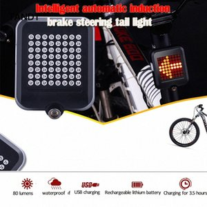 Bicycle light automatic direction indicator tail light USB rechargeable tail mountain bike road bike safety warning 4dTF#