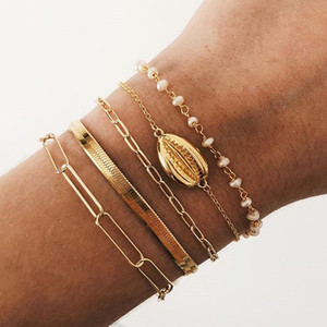 5 Pcs lot Fashion Women Bohemia Quality Gold Plated Pearls Bracelet Set for Women Shell Chain Braclets Bohemia Summer Jewelry
