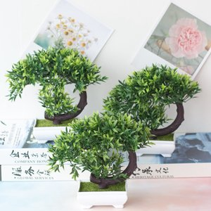 bonsai tree Artificial plants green Welcoming Pine Bonsai art fake plant craft supplies for Home Garden Decorations with pot 1pc