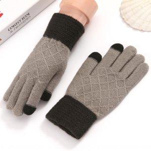 nDljl invernali electrombile caldo di lana lavorata a maglia auto elettriche guanti della bicicletta delle donne degli uomini caldi dei guanti pieni della barretta