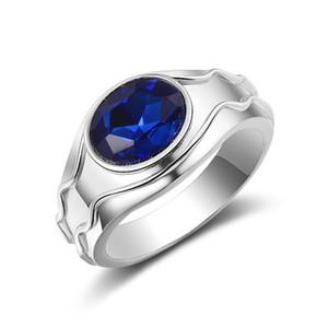 Luxury Men's Ring Fashion Simple Blue Gems Zircon Ring Men Wedding Band Engagement Men's Jewelry Fashion Accessories