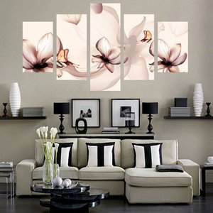 Decoration hd print canvas cuadros art 5 pieces piece flower painting modular picture modern frame living room wall