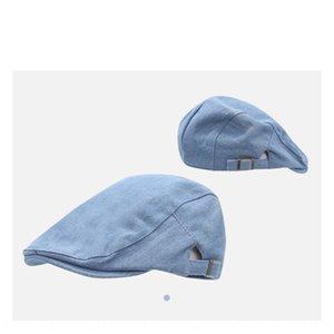 stile prQ3Q Tannino ~ ins denim lavato colore solido cappello in avanti antico berretto a visiera berretto a punta Beret donne alla moda anti-Beret