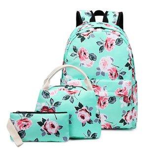 Cross-Border zaino Womens Bag Oxford esterna impermeabile di stampa del fiore di stile nazionale Schoolbag per la scuola elementare gli studenti a tre-Pie