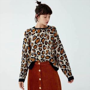 KIYUMI Donne Maglione Giallo Leopard maglione Urgan Gypsy Tops per la donna 2019 Nuovo Autunno Inverno dal O-collo maglioni casual