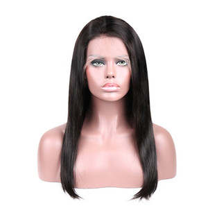 Straight Brazilian Human Hair Full Lace Wig For Women Remy Virgin Indian Peruvian Wig Caps