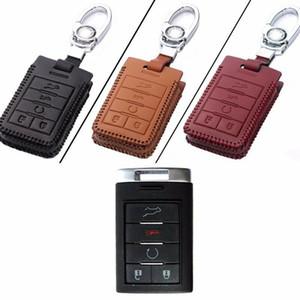 Nueva Piel 5 Botón distancia Soporte del bolso de la cadena del caso dominante Fob para Cadillac Serie A