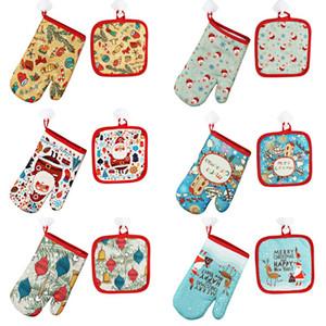 Guantes de algodón horno de la Navidad de Navidad para hornear anti-calientes 26cm * 16cm Guantes Horno Microondas aislamiento 17cm Mat Conjunto DHA1202