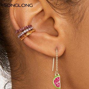 Songlong Bohemian elegante Versatile C- a forma di semplici orecchini cerchio di modo strass Set Ear Stud lega zircone orecchino Donne