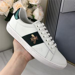 2021 Мужчины Женщины Повседневная обувь Flat платформы обувь кожа кроссовки Ace Bee Green Red Stripes обуви теннис Спортивные тренажеры Вышивка Chaussures