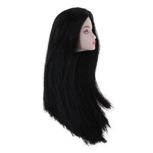 1/6 BJD ماكياج الوجه رئيس نحت مع الأسود شعر الباروكة دمية استبدال جزء من الجسم