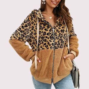 Frauen Herbst-Winter-Jacken Leopard-Art-Druck-Farbblock-Patchwork Weibliche Jacke mit Reißverschluss Kapuze Outwear Mantel veste femme manteau