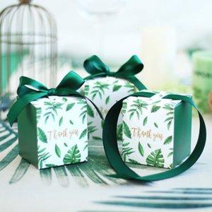 50pcs Kreative Grün Monstera Blätter Süßigkeit-Kasten-Quadrat-Hochzeit bevorzugt Pralinen Party Supplies Weihnachten Dank Geschenkbox