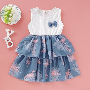 HIPAC 2020 Girl Clothes Girlymax Dress Summer Cotton Knee-Length European and American Style Bow A-Line Sleeveless Print