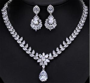 Элегантный циркон комплект ювелирных изделий ожерелье серьги Свадебные невесты Пром серебряные украшения подарков оптом Бесплатная доставка подарков