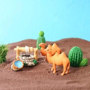 Camel Desert Cactus Flower Pool Ornament Model Figurine Home Glass Decor Miniature Craft Garden Fairy Decoration DIY Accessories