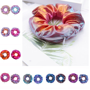 10 Colors Gradient Color Hair Scrunchie Women Ladies Girls Ponytail Holder Zipper Scrunchy Hair Accessories Hairbands Wrist Ankle D91507