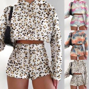 Tie Dyed Donne Sweatsuit Fashion Fluffy Manica Lunga Cappuccio con cappuccio Due pezzi Pantaloncini Set Nuovi Designer Designer Designer