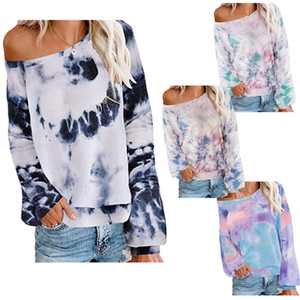 2020 Autumn Winter Tie-Dye Gradient Women's Long Sleeve Top Tees Designer Round Neck Knotted Causal Sports Female Sweatershirts S-3XL LY9101