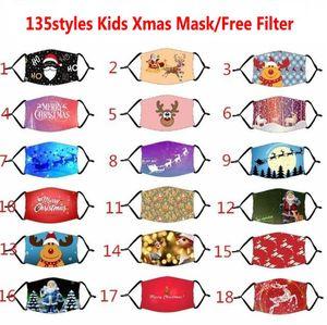 135 Styles Kinderweihnachts Halloween-Party-Gesichtsmasken Wiederverwendbare Waschbar gedruckte Karikatur-Mund-Abdeckung Winddichtes Anti Staubmasken mit Filter
