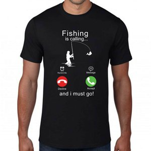Fishing Is Calling Me T Shirt Funny Phone Screen Fly Fishing Sailing Rod Fitted