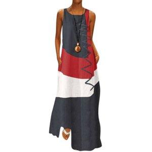 Damenkleider Folk-Zoll Weinlese-lange Sommer-Kleid Farbe Patchwork Sleeveless elegante legere Kleidung Frauen Kleidung
