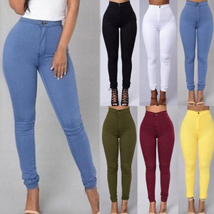 Moda Kadınlar Katı Renk Denim Tayt Tozluklar Skinny Kalem Pantolon İnce Jeans Stretch Zayıflama BuLift Artı-Size Jeans