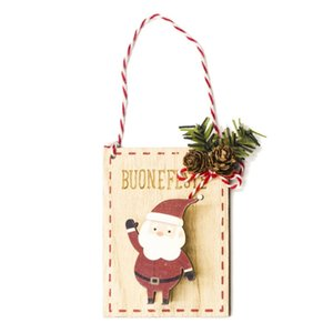 Tag clip en bois Porte Hanging décorée de Noël Painted Pendentif ornements Creative Arbre de Noël Décoration