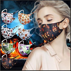 Halloween Face Mask For Adult Christmas Mask Fashion Earloop Pumpkin 3D Printing Anti-dust Breathable Washable Mask Party Masks IIA643