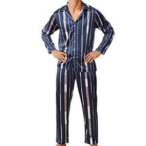 Männer Pyjama Sets Art und Weise Striped Panelled Pajama beiläufige lange Hülsen-Revers-Neck Top-lange Hosen Herren-Unterwäsche-Sets