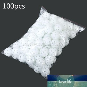 Wholesale- White 100Pcs Pack Plastic Whiffle Airflow Hollow Golf Balls Practice Golf Balls Training Sports Golf Accessories Aids Tool Clubs