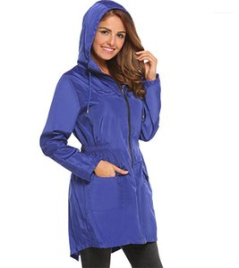 Fashion Solid With Zipper And Pocket Womens Jacket Designer Woman Cloth Drawstring Hooded Elastic Waist Trench Coats