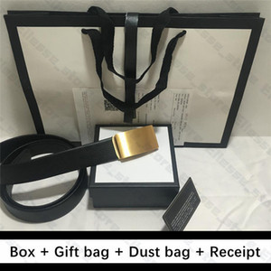 Bolso de calidad superior con la caja de regalo Bolsa de polvo Recibo hombre de la moda del cuero auténtico real de Cuero para mujer cinturones de hebilla de oro de la serpiente diseñador de los hombres de la correa