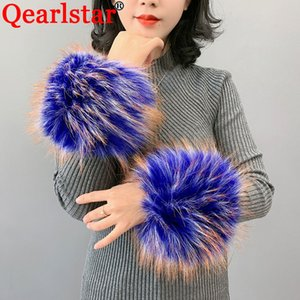 2020 New Fur Wrist Faux Raccoon Fur Cuff For Women Warm Winter Wrist Sleeve Decor Arm Wristbands Elastic Bracelet ZKG35